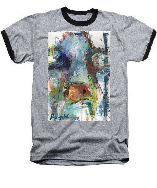 Colorful Cow Print Baseball T-Shirt by Robert Joyner