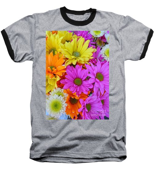 Colorful Daisies Baseball T-Shirt
