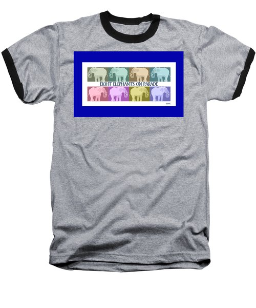 Colorful Elephants Baseball T-Shirt by Marian Cates