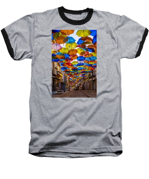 Colorful Floating Umbrellas Baseball T-Shirt by Marco Oliveira