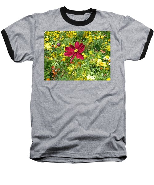 Colorful Flower Meadow With Great Red Blossom Baseball T-Shirt