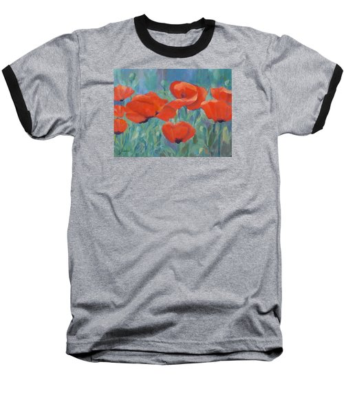 Colorful Flowers Red Poppies Beautiful Floral Art Baseball T-Shirt by Elizabeth Sawyer