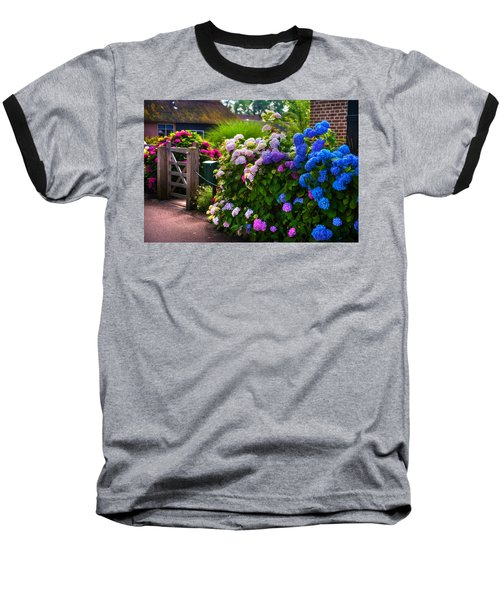 Colorful Hydrangea At The Gate. Giethoorn. Netherlands Baseball T-Shirt by Jenny Rainbow
