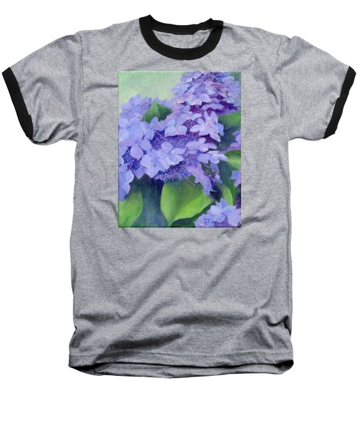 Colorful Hydrangeas Original Purple Floral Art Painting Garden Flower Floral Artist K. Joann Russell Baseball T-Shirt