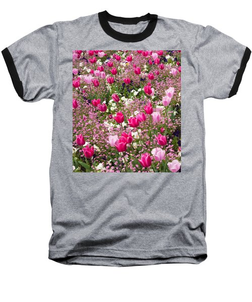 Colorful Pink Tulips And Other Flowers In Spring Baseball T-Shirt