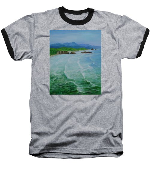 Colorful Seascape Oregon Cannon Beach Ecola Landscape Art Painting Baseball T-Shirt