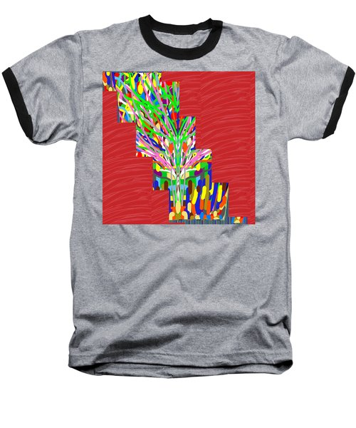 Baseball T-Shirt featuring the photograph Colorful Tree Of Life Abstract Red Sparkle Base by Navin Joshi