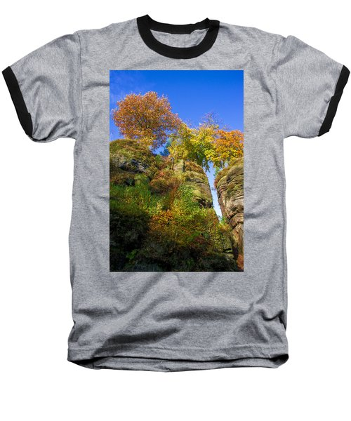 Colorful Trees In The Elbe Sandstone Mountains Baseball T-Shirt