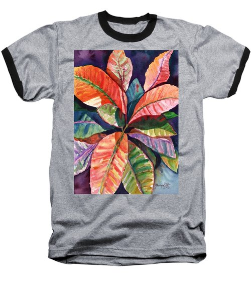 Baseball T-Shirt featuring the painting Colorful Tropical Leaves 1 by Marionette Taboniar