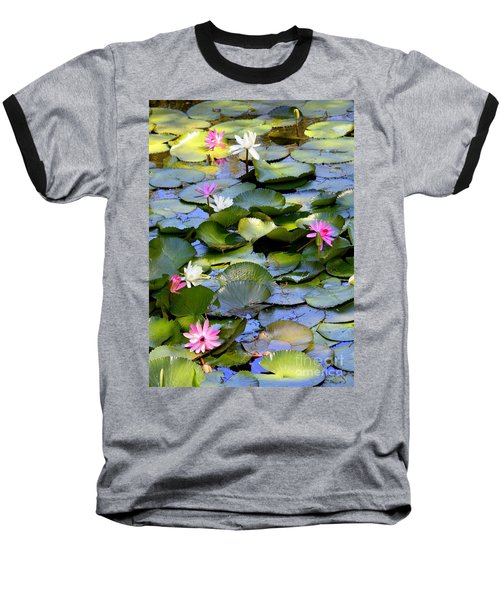 Colorful Water Lily Pond Baseball T-Shirt