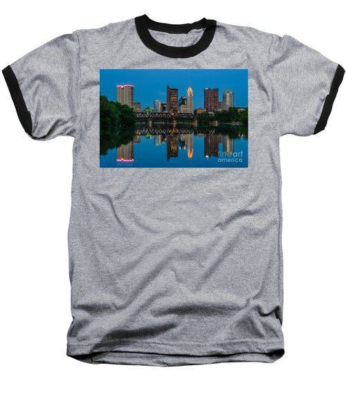 Columbus Ohio Night Skyline Photo Baseball T-Shirt