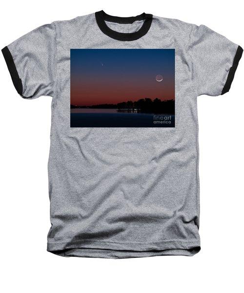 Comet Panstarrs And Crescent Moon Baseball T-Shirt