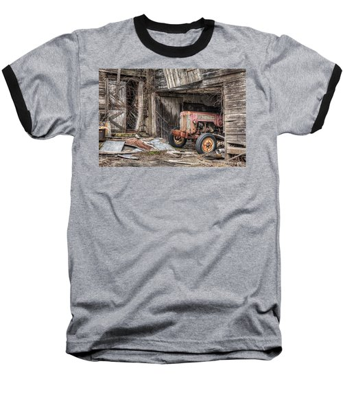 Comfortable Chaos - Old Tractor At Rest - Agricultural Machinary - Old Barn Baseball T-Shirt