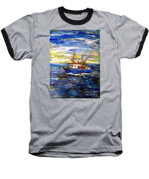 Baseball T-Shirt featuring the painting Coming Back by Arturas Slapsys