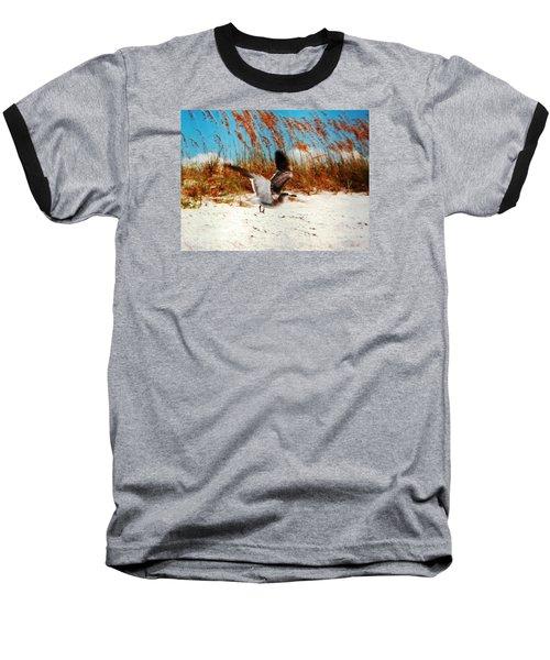 Windy Seagull Landing Baseball T-Shirt