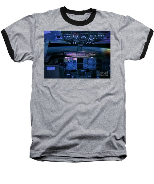 Commercial Airplane Cockpit By Night Baseball T-Shirt