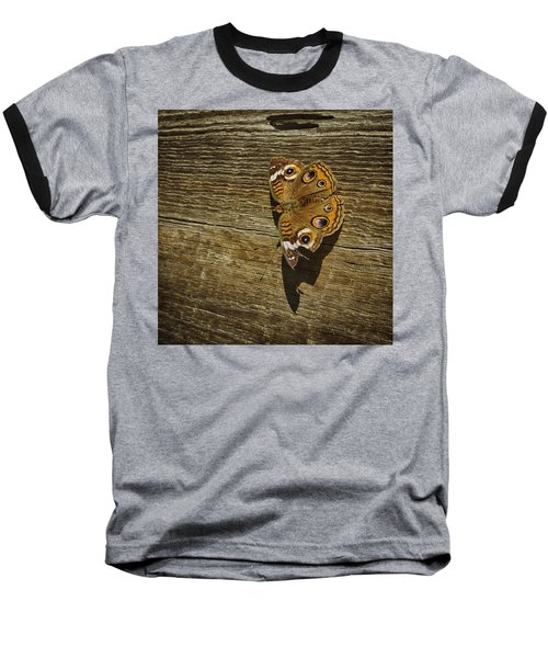 Baseball T-Shirt featuring the photograph Common Buckeye With Torn Wing by Lynn Palmer