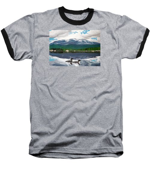 Common Loon On Togue Pond By Mount Katahdin Baseball T-Shirt