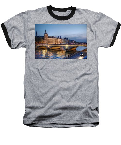 Baseball T-Shirt featuring the photograph Conciergerie And Pont Napoleon At Twilight by Jennifer Ancker