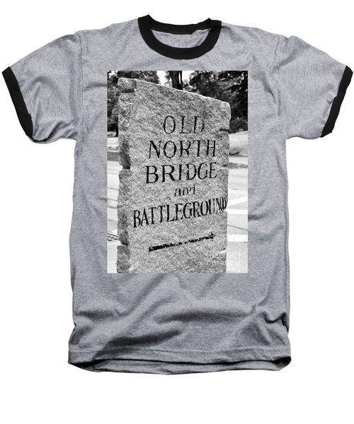 Concord Ma Old North Bridge Marker Black And White Baseball T-Shirt