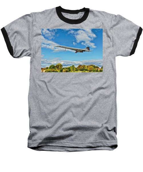 Baseball T-Shirt featuring the digital art Concorde On Finals by Paul Gulliver