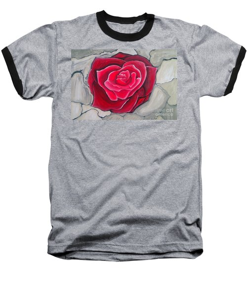 Baseball T-Shirt featuring the painting Concrete Rose by Marisela Mungia
