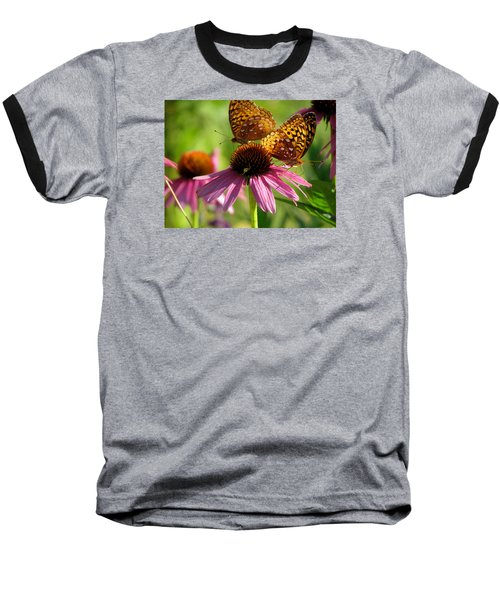 Coneflower Butterflies Baseball T-Shirt