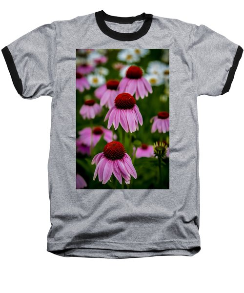 Coneflowers In Front Of Daisies Baseball T-Shirt