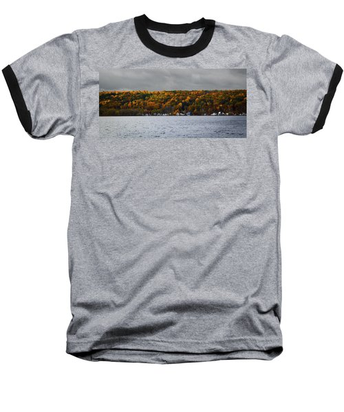 Conesus Lake Autumn Baseball T-Shirt by Richard Engelbrecht