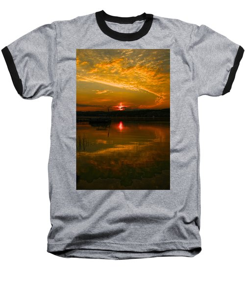 Conesus Sunrise Baseball T-Shirt by Richard Engelbrecht