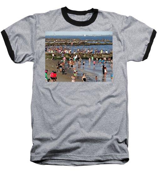 Baseball T-Shirt featuring the photograph Coney Island Rocks by Ed Weidman