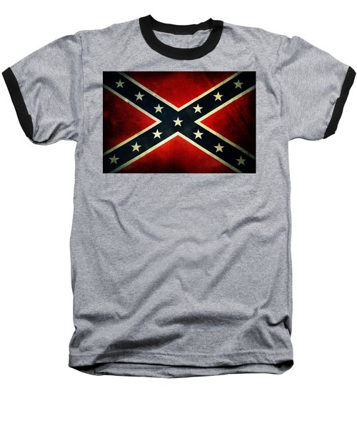 Confederate Flag Baseball T-Shirt by Les Cunliffe