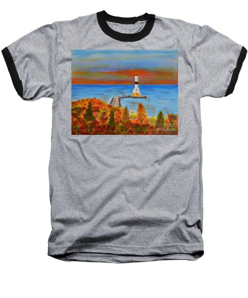 Fall, Conneaut Ohio Light House Baseball T-Shirt by Melvin Turner