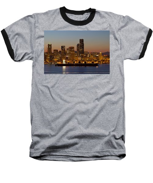 Baseball T-Shirt featuring the photograph Container Ship On Puget Sound Along Seattle Skyline by JPLDesigns