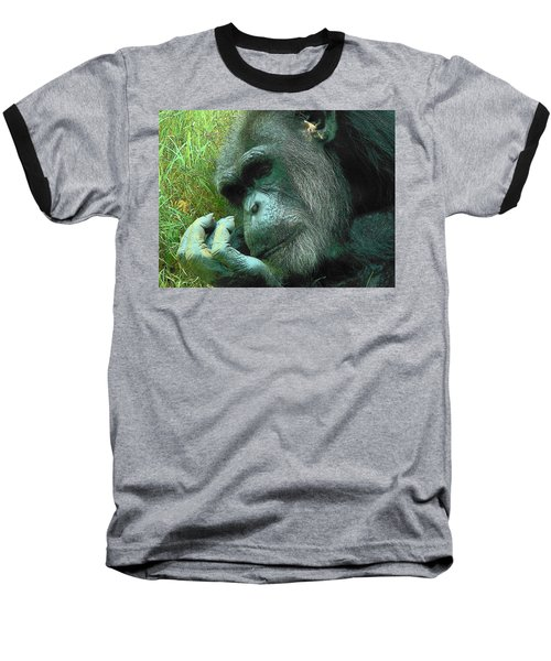 Baseball T-Shirt featuring the photograph Contemplative Chimp by Rodney Lee Williams