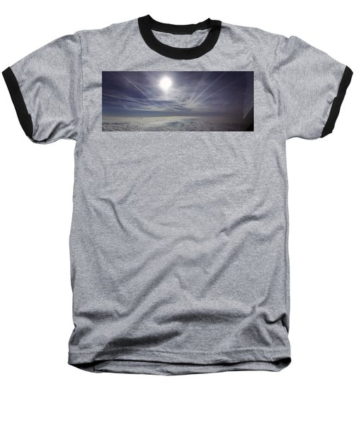 Contrail Panorama Baseball T-Shirt by Greg Reed