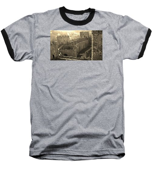 Conwy Castle Baseball T-Shirt by Richard Brookes