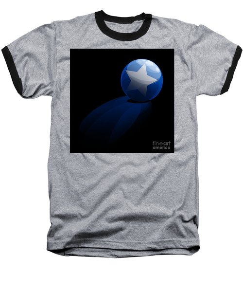 Baseball T-Shirt featuring the digital art Blue Ball Decorated With Star Grass Black Background by R Muirhead Art