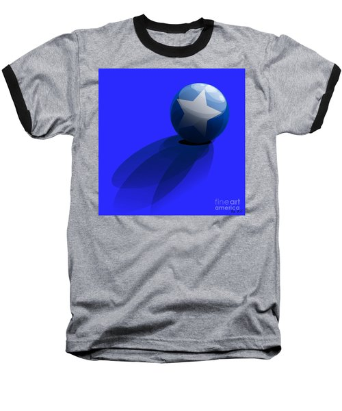 Baseball T-Shirt featuring the digital art Blue Ball Decorated With Star Grass Blue Background by R Muirhead Art