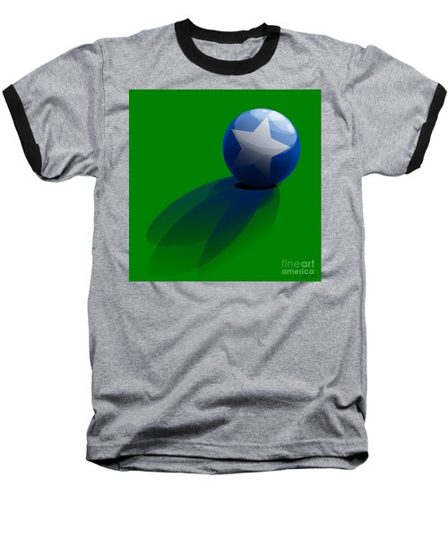 Baseball T-Shirt featuring the digital art Blue Ball Decorated With Star Grass Green Background by R Muirhead Art