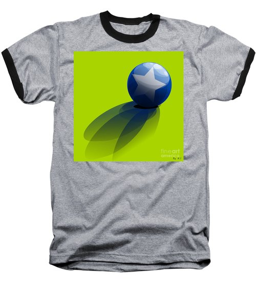 Baseball T-Shirt featuring the digital art Blue Ball Decorated With Star Green Background by R Muirhead Art