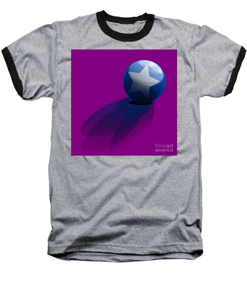Baseball T-Shirt featuring the digital art Blue Ball Decorated With Star Purple Background by R Muirhead Art