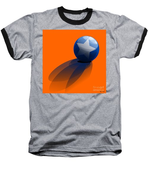Baseball T-Shirt featuring the digital art Blue Ball Decorated With Star Orange Background by R Muirhead Art