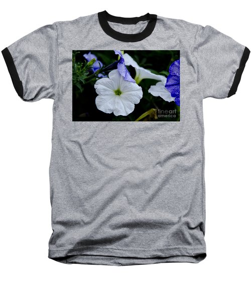Baseball T-Shirt featuring the photograph Cool Summer Petunias by Wilma  Birdwell