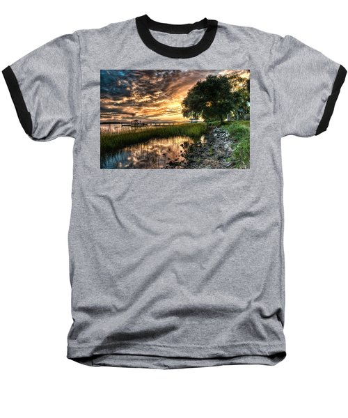 Coosaw Plantation Sunset Baseball T-Shirt by Scott Hansen