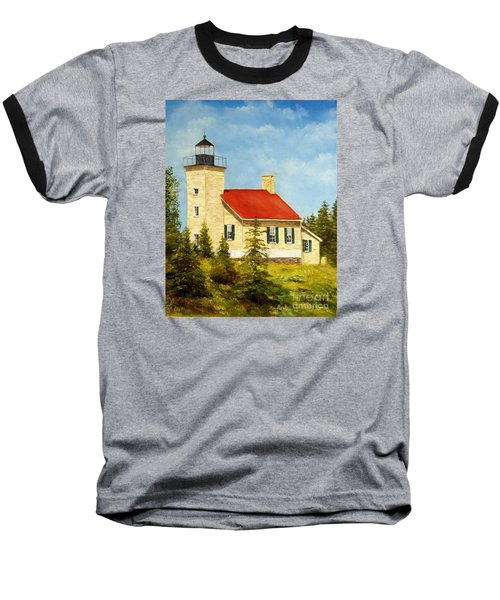 Copper Harbor Lighthouse Baseball T-Shirt by Lee Piper