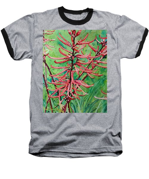 Coral Bean Flowers Baseball T-Shirt