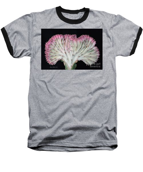 Coral Cactus Baseball T-Shirt by Jeannie Rhode