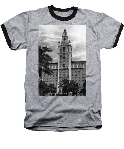 Coral Gables Biltmore Hotel In Black And White Baseball T-Shirt by Ed Gleichman