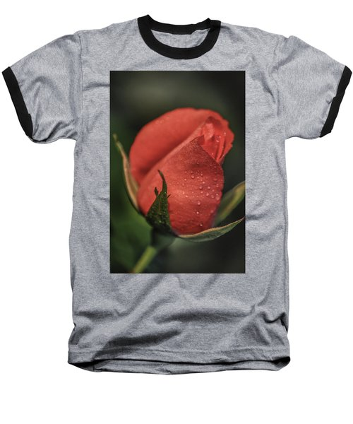Coral Rosebud Baseball T-Shirt